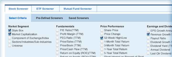 Stock options screening